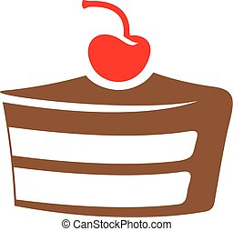 bruine , vrijstaand, illustratie, vector, achtergrond, taart, witte , pictogram