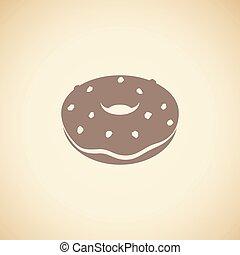 bruine , vrijstaand, illustratie, vector, beige achtergrond, doughnut, pictogram