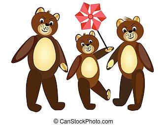 bruine , wandelende, illustration., teddy, family., group., drie, illustratie, bears., beer, children., bear.