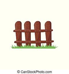 bruine , weinig; niet zo(veel), gemaakt, nails., omheining, plat, boerderij, schermen, helder, illustratie, spotprent, houten, grass., vector, groene, geklapt, planks., kleurrijke, icon.