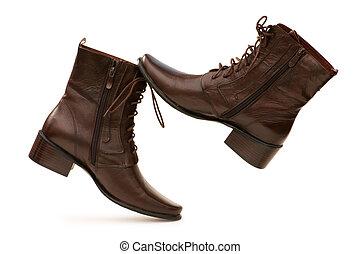 bruine , witte achtergrond, vrijstaand, laarzen