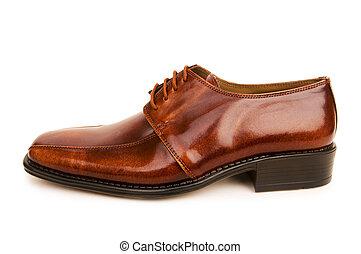 bruine , witte schoenen, achtergrond, vrijstaand