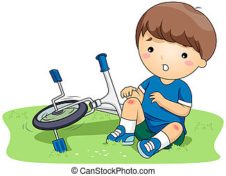 Bruised Kid - Illustration of a Boy Who Bruised His Knees...
