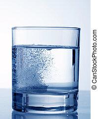 bruisende tablet, in, water