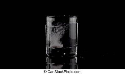 bruisende tablet, tred, een, glas water