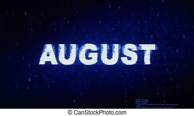bruit, août, texte, animation., numérique, effet, déformation, glitch, erreur, tic