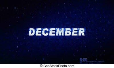 bruit, décembre, animation., numérique, effet, déformation, glitch, texte, erreur, tic