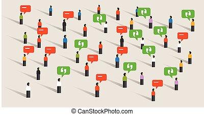 bruit, foule, gens, média, social, conversation, parole, écoute, communication, bulle, public