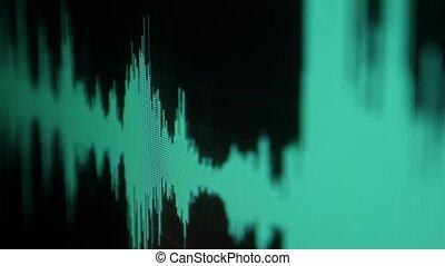 bruit, haut., numérique, écran, lignes, vagues, ou, waveform., compensateur, informatique, fin, vague, son, screen., audio, exposer, oscilloscope., monitor., joueur, refocus, forme onde, musique, fréquence, voix
