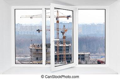 bruit, ouvert, cadre, site, une, pvc, construction, par, immission, fenêtre, bruyant, vue