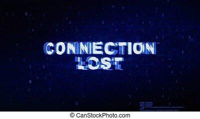 bruit, perdu, texte, animation., numérique, effet, déformation, glitch, connexion, erreur, tic