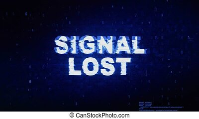 bruit, perdu, texte, signal, numérique, effet, déformation, glitch, erreur, tic, animation.