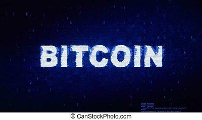 bruit, texte, animation., numérique, bitcoin, déformation, glitch, erreur, effet, tic