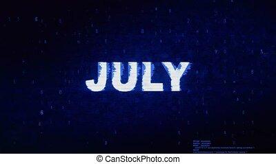 bruit, texte, animation., numérique, effet, déformation, glitch, erreur, juillet, tic
