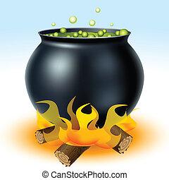 bruja, caldero, ardiendo