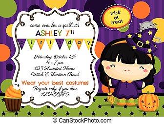 bruja, cumpleaños, invitación