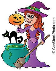 bruja de halloween, caricatura, gato