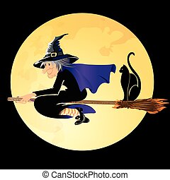bruja de halloween, con, un, gato