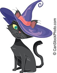 bruja, gato, sombrero, espíritu, familiar