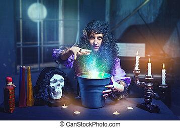 bruja, habitación, ella