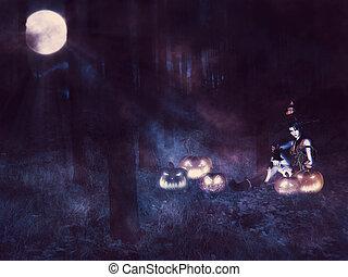 bruja, medianoche, bosque
