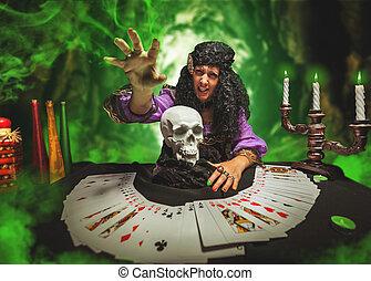 bruja, mientras, practicar, brujería