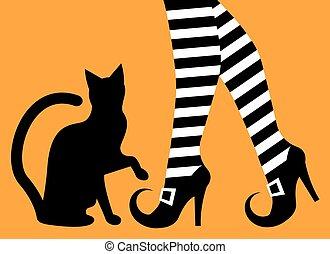 bruja, piernas, gato negro