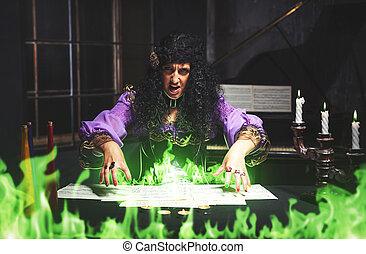 bruja, practicar, adulto, brujería
