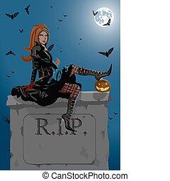 bruja, tumba, sentado, hermoso