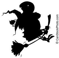 bruja, vuelo, silueta, negro