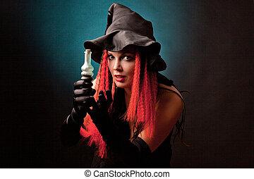 brujería, negro, fondo., bruja, practica