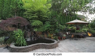 brukarz, kamień ogród, wodospad