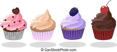 brulee, petits gâteaux, forme coeur, rose, brun, café, pourpre, set., vecteur, taste., chocolat sombre, crème, fraise, illustration., cherry., mûres, color., décoré, icône