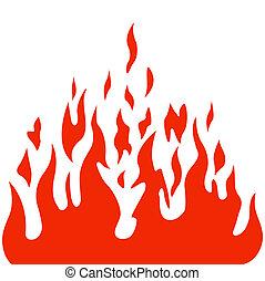 brulure, flamme, brûler, vecteur, fond