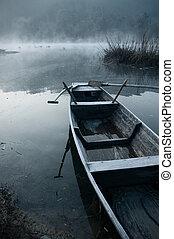 brume, bateau, matin