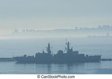 brume, bateaux