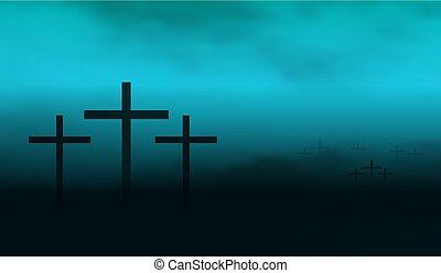 brume, silhouette, crucifix