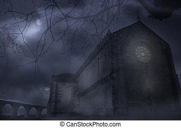 brumeux, abbaye, nuit