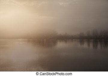 brumeux, aube, rivière