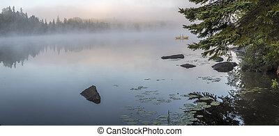 brumeux, aube, sur, a, lac, dans, ontario, canada