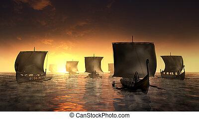 brumeux, bateaux, vikings, water.