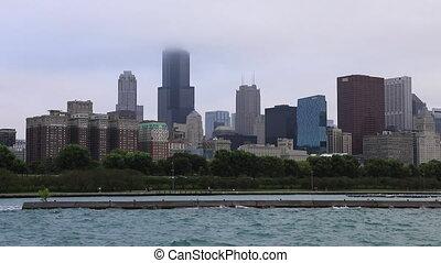 brumeux, centre, ville, chicago, jour, vue