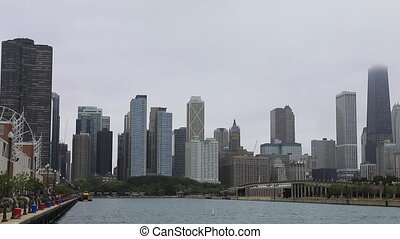 brumeux, chicago, horizon, marine pier, jour