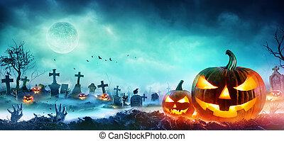 brumeux, cimetière, mains, o, zombi, lanternes, levée, cric, nuit dehors