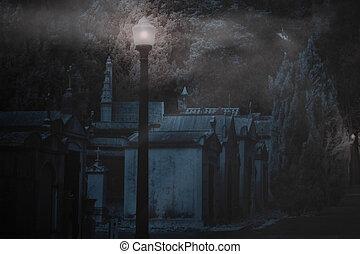 brumeux, cimetière, nuit