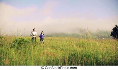 brumeux, courant, nature, pré, jeune, dehors, couple, ...