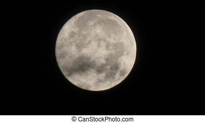 brumeux, entiers, nuages, lune, lumière