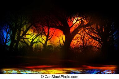 brumeux, forêt, nuit