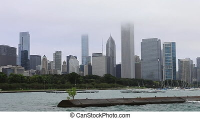 brumeux, horizon, jour, chicago