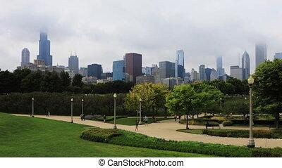 brumeux, horizon, timelapse, jour, chicago